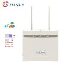 TIANJIE-enrutador WIFI CPE 4G/LTE, módem con ranura para tarjeta sim, puertos WAN/LAN, punto de acceso de banda ancha, CAT4 CPE con conectores de antenas SMA