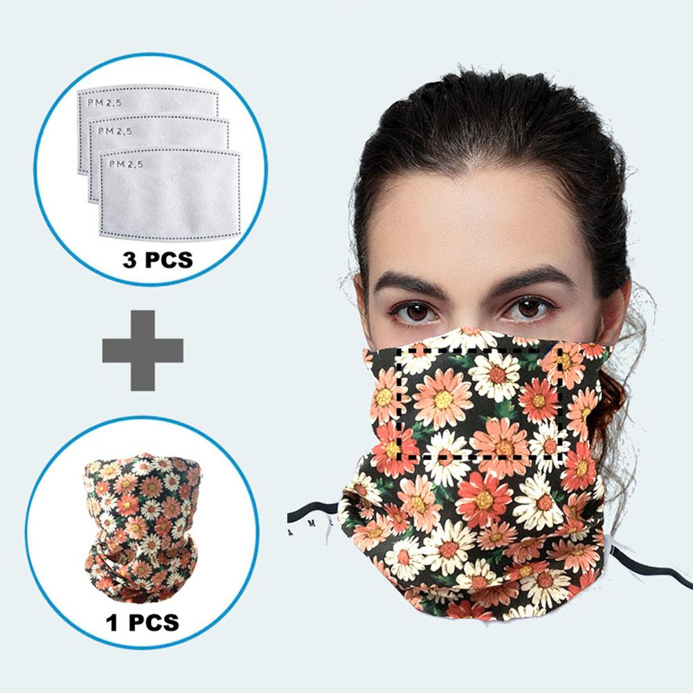 Unisex Floral Splash-proof Anti UV Stretch Face Cover Outdoor Neck Gaiter Scarf With Filters Stop The Flying Spit For Summer