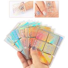 24 Sheets DIY Nails Stamping Template Nail Stickers Irregular Grid Stencil Reusable Nail Art Vinyls Hollow Stickers Decor