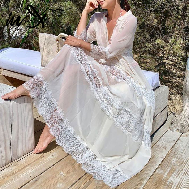 In-X Sexy White Lace Beach Dress Women Summer Long Sleeve Swimsuit Cover Up Hollow V Neck Cover Up Beach Wear See Through Bikini