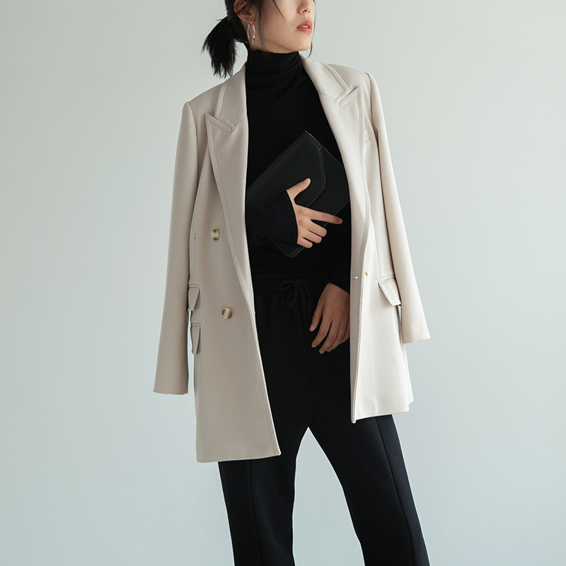 LANMREM 2020 Spring And New Products Fashion Solid Color Pocket Long Section Two Buckle Drape Suit Jacket Female PA809