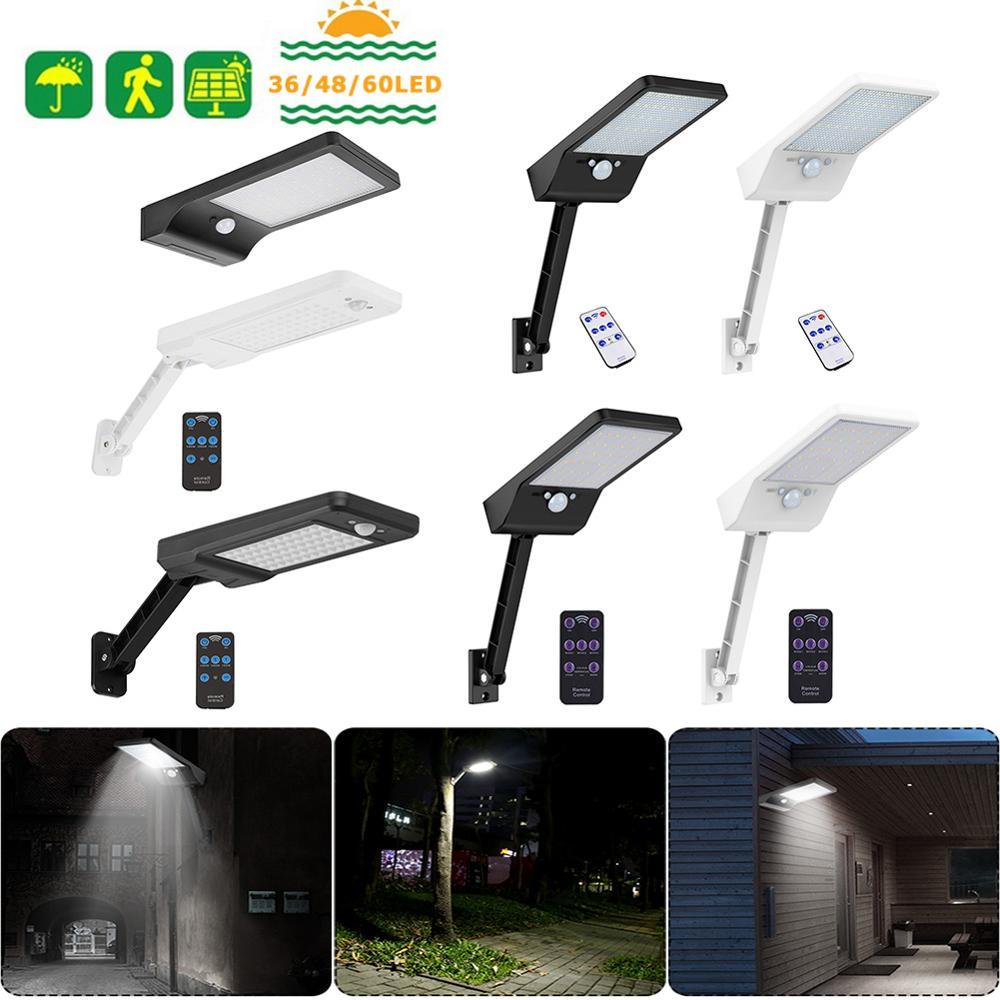 1000LM Remote Control Upgraded 48LEDs 60LEDs Solar Light PIR Motion Sensor IP65 Outdoor Solar Wall Street Light Waterproof Lamp