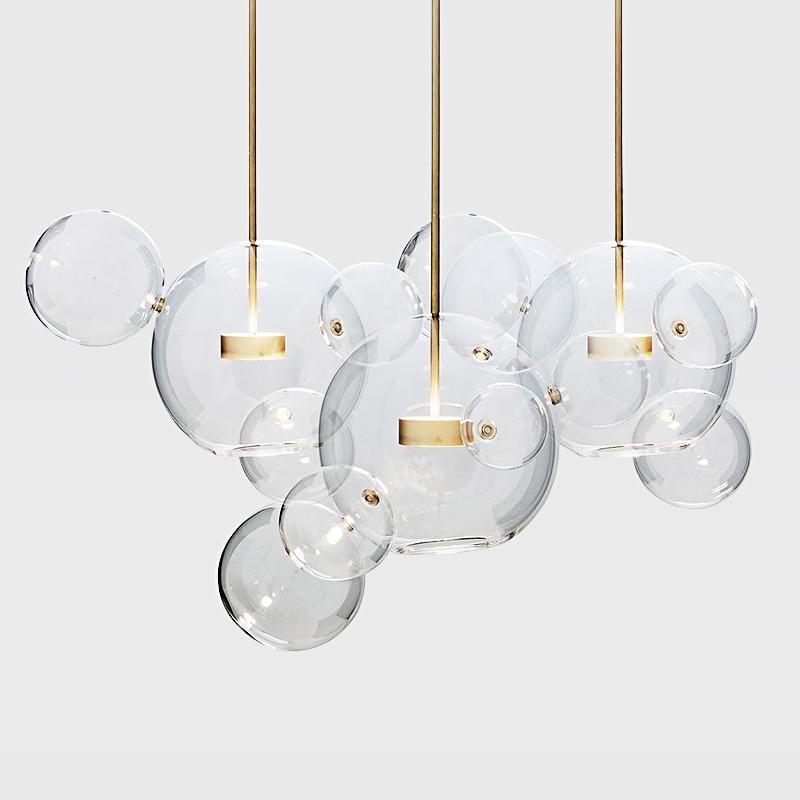 Artpad Living Room Chandelier Warm/White Lighting,Creative Clear Glass Bubble Lamp Children Room Indoor Decor Lighting Fixture