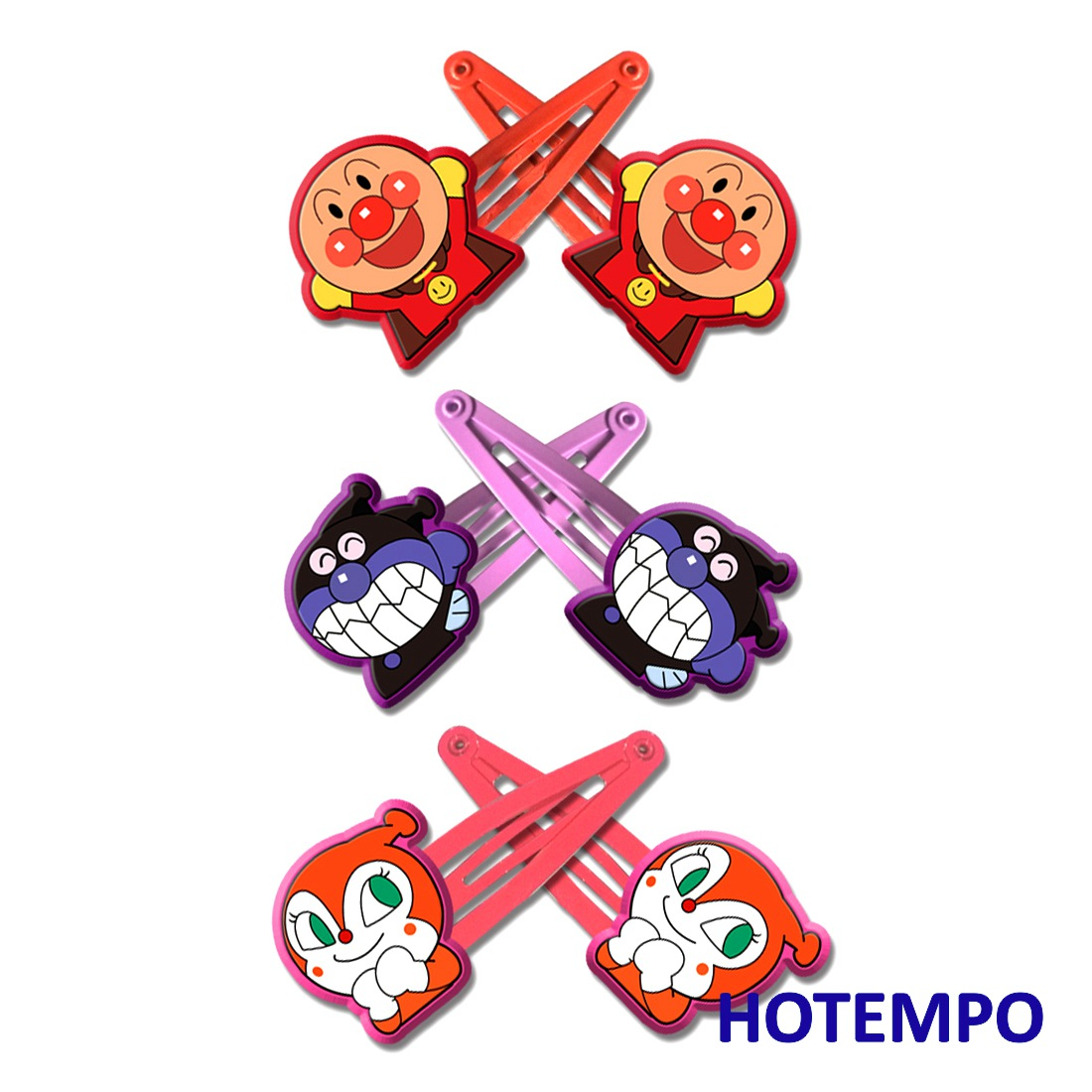 Japan Cute Cartoon Anpanman Dokin-chan Baikinman Kawaii Hair Accessories Hairpins For Baby Girls Children Kids Gift