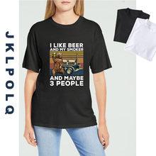 JKLPOLQ męska klasyczna koszulka niedźwiedź Camping lubię piwo I mój palacz I może 3 osoby Vintage mężczyźni topy zabawna koszulka Unisex