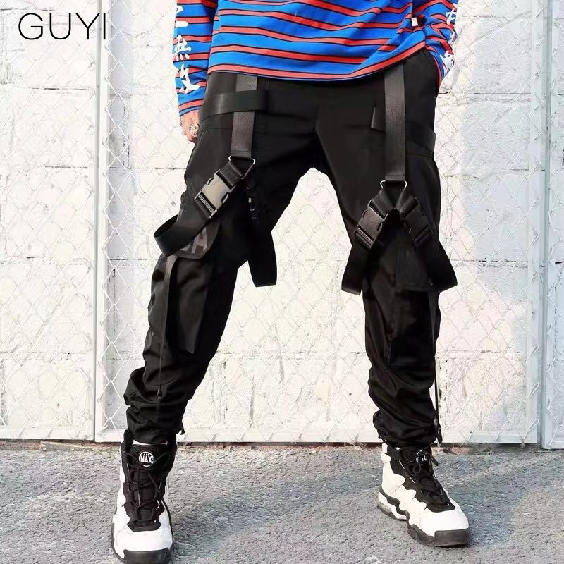 Letter Print Ribbons Black Multi-pocket Cargo Pants For Men Tactical Joggers Sweatpant Hip Hop Pencil Trousers Track Streetwear