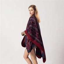 SANMAIHUA women winter fashion cashmere poncho warm print shawls & wraps stole pashmina long female Echarpe