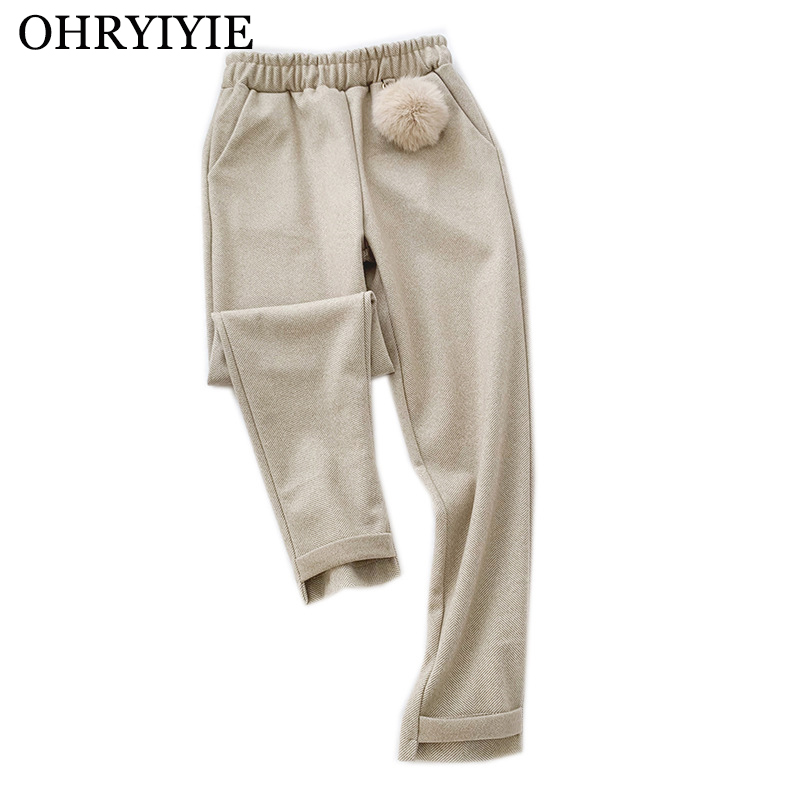 OHRYIYIE Autumn Winter Thick Harem Pants Women 2019 Casual High Waist Loose Pant Female Beige Warm Hairball Ankle-Length Pants