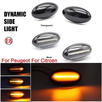 2X llevó la lámpara de señal intermitente para Peugeot 307, 206, 407, 107, 607, 1007 Citroen C1 C2 C3 C5 C6 secuencial indicador lateral de la luz