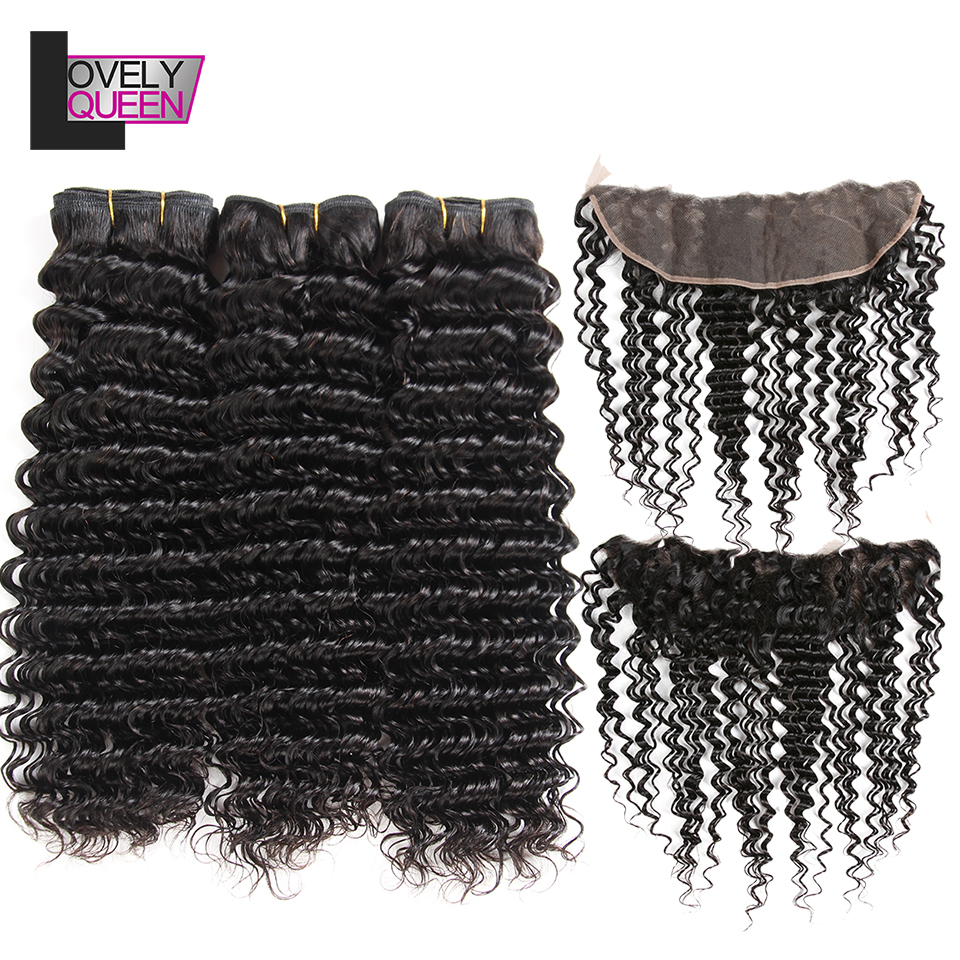 Lovely Queen Hair Human Hair Peruvian Deep Wave Bundles With Frontal Non Remy Weaves With Frontal Closure