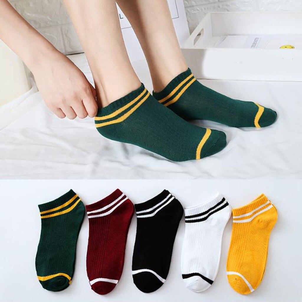 Невидимые летние носки, женские нескользящие низкие кроссовки, хлопковые носки-башмачки, полосатые короткие носочки по щиколотку в стиле Х...