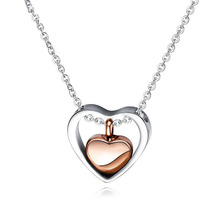 Rose Gold Double Heart Women's Titanium Steel Necklace Personalized Design Pet Ashes Box Openable