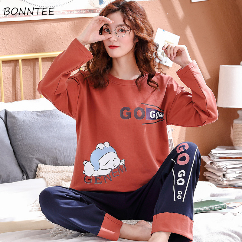 Pajama Sets Women Newest Spring Lovely Printed Cotton Soft Long Sleeve Thin Female Pajamas Oversize Trendy Sweet Girls Homewear