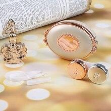 Clássico mágico contato lente caso dos desenhos animados caixa de lente de contato acrílico beleza portátil presente beleza pupila lente caso