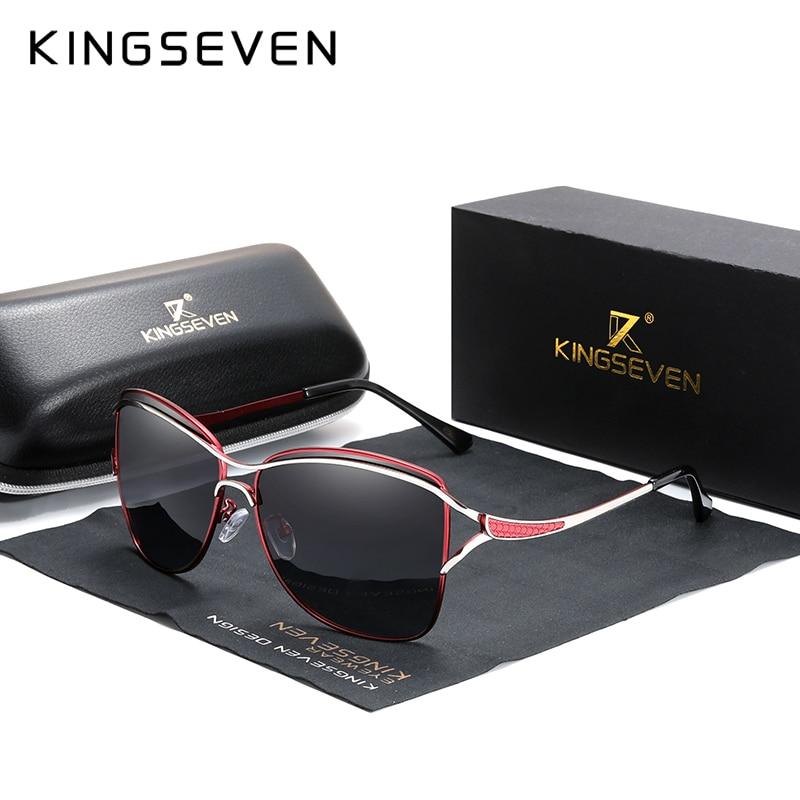 Kingseven óculos de sol para mulher quadrado sem aro elegante marca designer moda tons óculos de sol com caixa