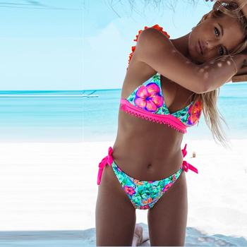 Bikinis Women Swimwear New 2020 Swimsuit Bikini Sexy Backless Ruffle Micro Bikinis Women Bathing Suit Floral Beach Wear Biquinis 3