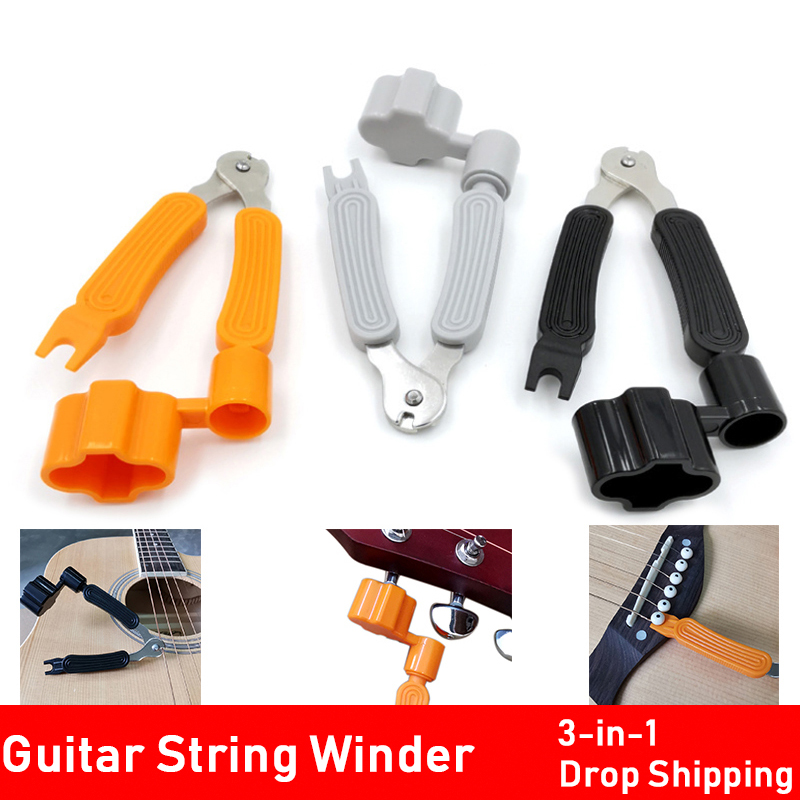 New 3colors Guitar 3 in 1 Multifunctional guitarra Ukulele Tool Winder + String Cutter + Pin Puller Instrument Accessories