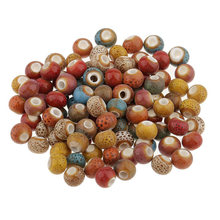 100pcs Vintage Loose Beads Ceramic Charms Necklace Bracelet Arts For Jewelry Making DIY Set Crafts Sewing Decors(China)