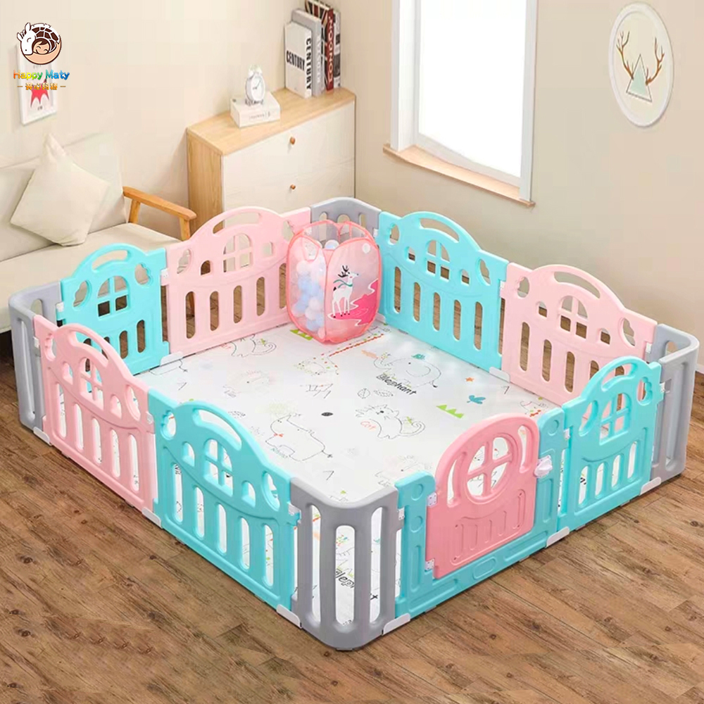 Happymaty Newborn <font><b>Baby</b></font> Fence Safety Barrier Playpen For Children with <font><b>Ball</b></font> <font><b>Pool</b></font> Kids Indoor Playground Game Fence F01 image