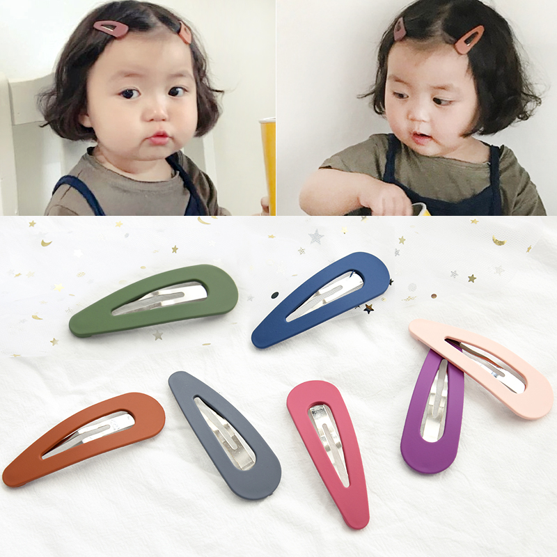 Children Simple Candy Hollow Waterdrop Hair Clips Grils Alloy Barrettes Hair Cilps Sweet Acrylic Hairpins Kids Hair Accessories