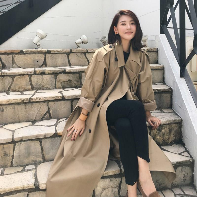 2019 Women Korea Slim Chic With Belt Loose   Trench   Coat Sashes Simple Classic Female Double Breasted Long Windbreaker