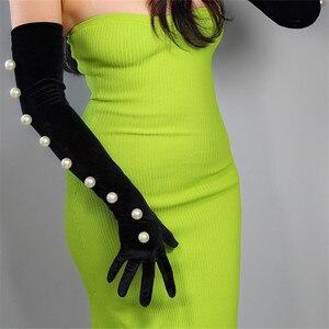 Image 5 - Guantes de terciopelo negro para mujer, 2cm, cordón de perla blanca de gran tamaño 60cm de largo, elástico negro, dorado, terciopelo, guantes de noche para mujer WSR24