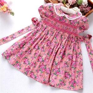 Image 2 - Smocked ชุดสำหรับหญิง frock handmade ผ้าฝ้ายเสื้อผ้าเด็กชุดเด็กฤดูร้อนเย็บปักถักร้อยโรงเรียนวันหยุดบูติก