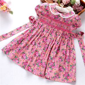 Image 2 - smocked dresses for girls frock handmade cotton baby clothes summer kids dress embroidery Party holiday school boutiques