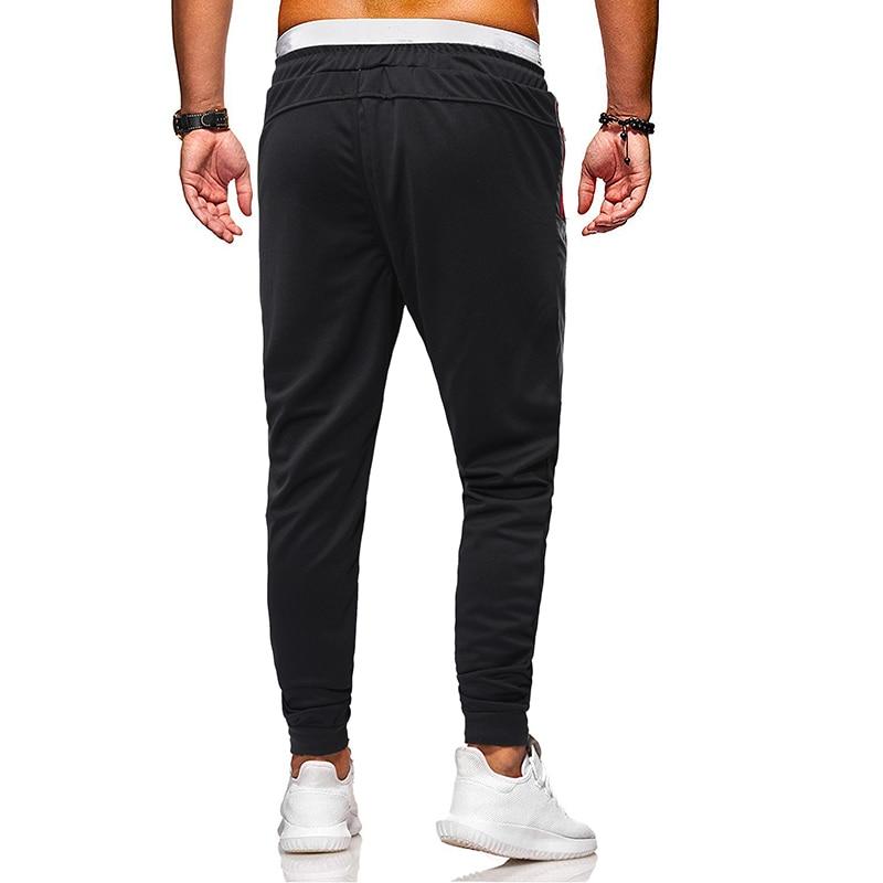 Men Pants New European Men's Color Contrast Stitching Fastening Belt Zipper Pocket Belt Leg Slim Casual Pants