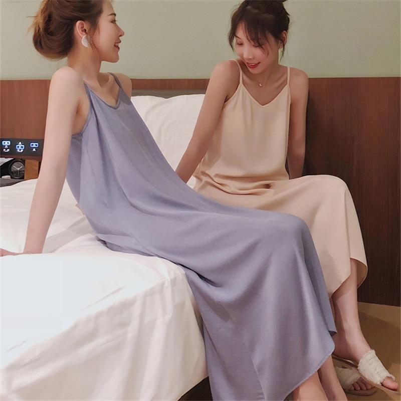 Sommer Nachthemd Sexy Nachthemd Frauen Nachtwäsche Neue Stil V-ausschnitt Sleeveless Backless Sling Pyjamas Satin Nachtwäsche Y345