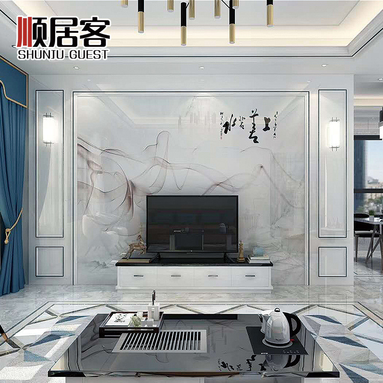 New Products TV Backdrop Tile Living Room Television Wall Microcrystalline Marble Decoration Bordered Design Light Luxury Wall P