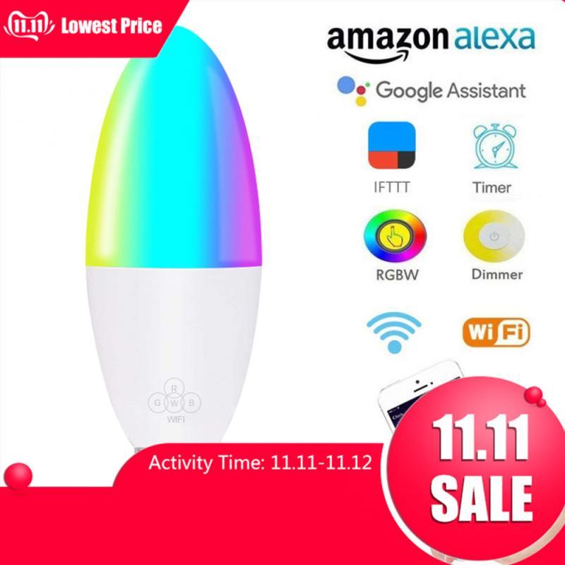 1pcs WiFi Smart Bulb LED 6W RGB E14/E10/E27/B22 Color Changing Light Bulb Voice Remote App Control Work With Alexa Google Home
