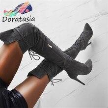DORATASIA – bottes montantes au genou pour femme, chaussures de soirée à talons hauts, Sexy, 35-47, nouvelle collection 2020
