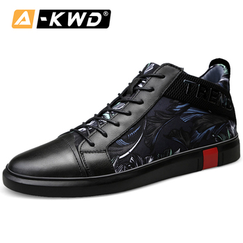 Fashion Carved Cloth High Tops Autumn Breathable Casual Designer Trainers Black 37-46 Snekers Genuine Sneakers Men Leather Shoes