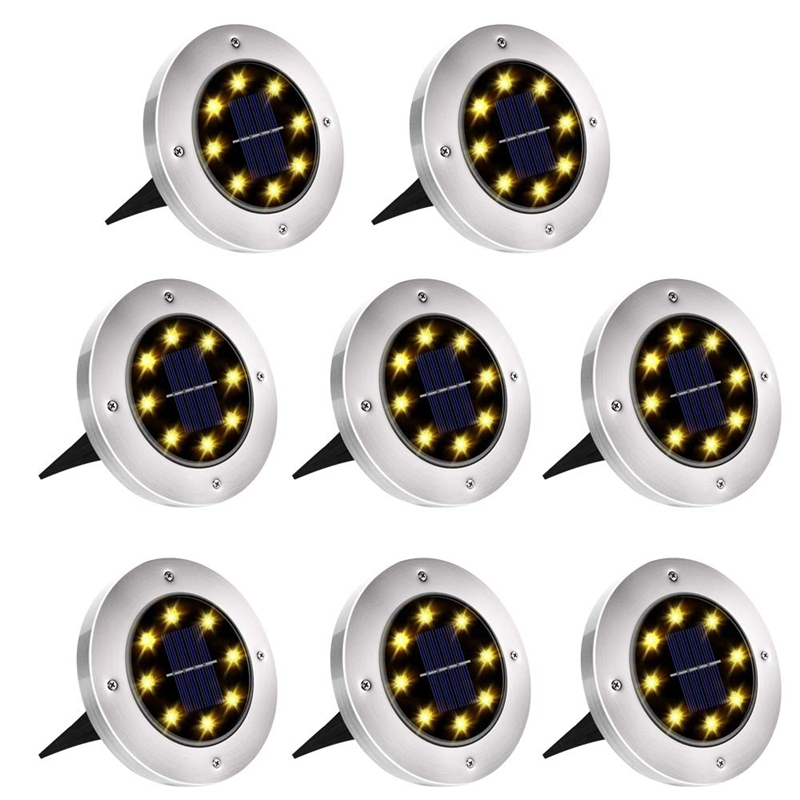 Top-8 LED Solar Ground Lights Outdoor Waterproof Landscape Disk Lamp for Garden Pathway Yard Deck Patio Walkway Warm White 8Pack