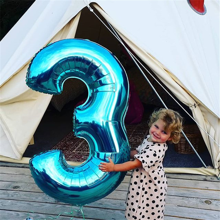 40 Inch Large Blue <font><b>Number</b></font> <font><b>Balloons</b></font> figure digit 3 Birthday 3 years old Anniversaire Decoration Kids little Boy Big <font><b>Number</b></font> 7 <font><b>8</b></font> 9 image