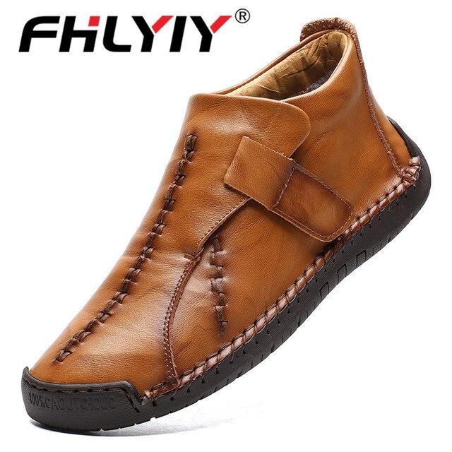 Fhlyiy真新しい革足首の靴メンズカジュアルシューズ屋外ぬいぐるみ暖かいスプリットレザー靴秋ノンスリップzapatosデhombre