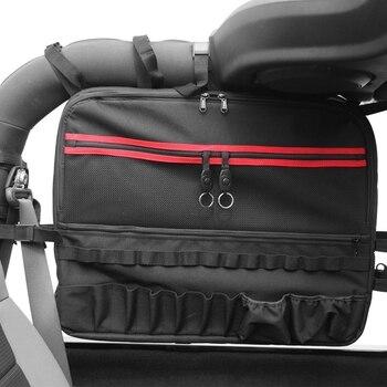 Roll Cage Multi-Pockets Storage Organizers Cargo Bag Saddlebag for 2007-2017 J eep Wrangler Jk 2-Door Tool Kits Bottle Drink Pho