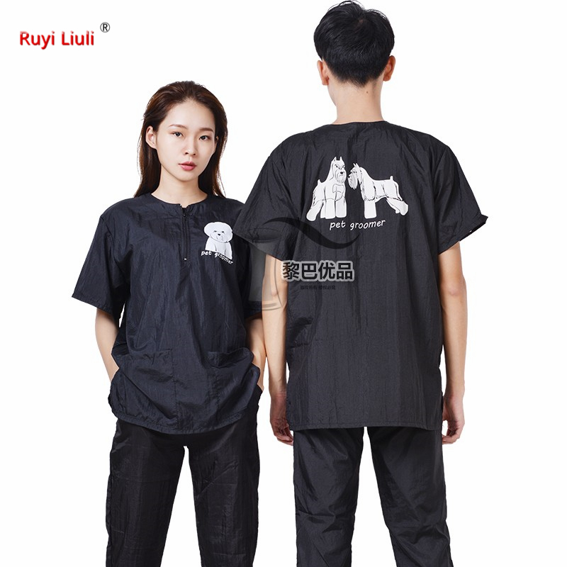 Pet Groomer Uniform Cut Pet Hair Breathable Soft Fur Professional Groomer Robe With Logo