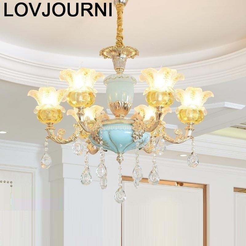 Para Casa Lustre lumineux Suspension nordique Luminaire Suspension cristal lumière déco Maison Lampara Colgante lampe à suspendre