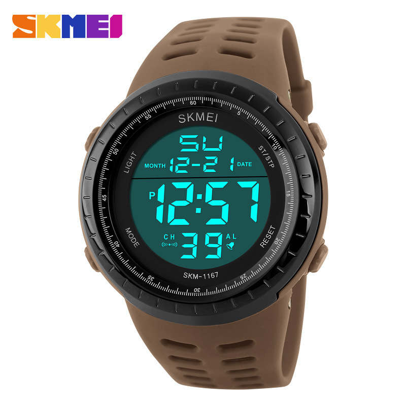 <font><b>Skmei</b></font> <font><b>1167</b></font> Outdoor Sports Fashion Silicone Band Watch Large Dial Multi-Functional Waterproof MEN'S Quartz Watch image
