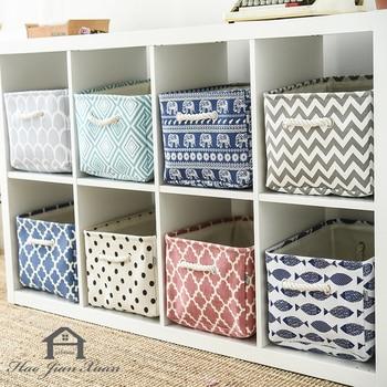 Cube Canvas Fabric Storage Basket Clothes Folding Storage Box For Nursery Underwear Toy Organizer Laundry Basket With Handle