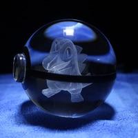Led 나이트 라이트 포케몬 이동 테이블 램프 pokeball 크리스탈 totodile 디자인 조각 3d 공 아기 아이 선물
