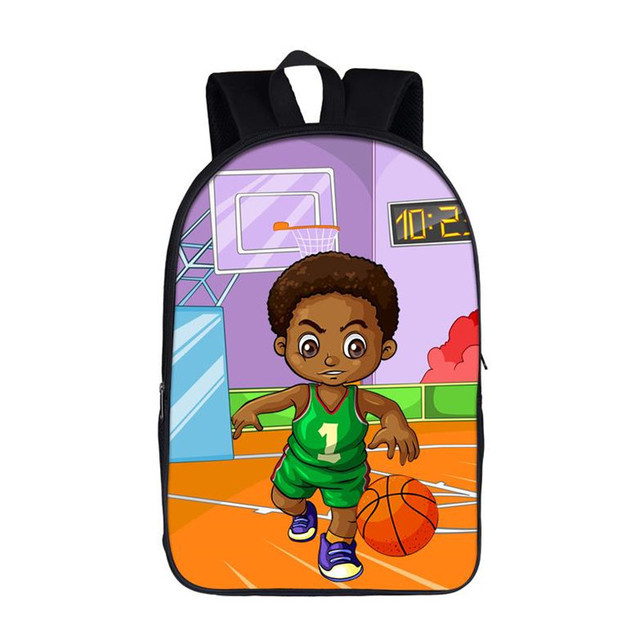16 inch Afro Black Art Boy School Backpack
