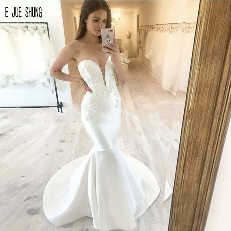 E JUE SHUNG Sexy Satin Mermaid Wedding Dresses Sweetheart Neck Backless Wedding Gowns Lace Appliques Bridal Gowns Robe De Mariee