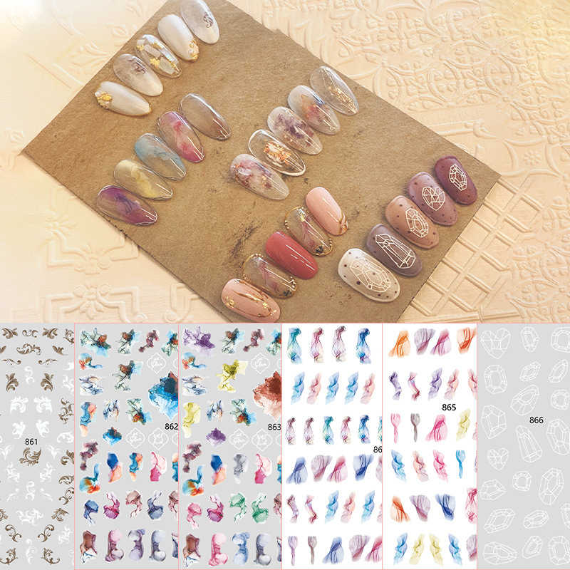 1Pc Nieuwe Kleur Blok Graffiti Contrast Nail Sticker Nail Art Stickers Wind Kleine Verse Nagels 3d Decal Decoratie