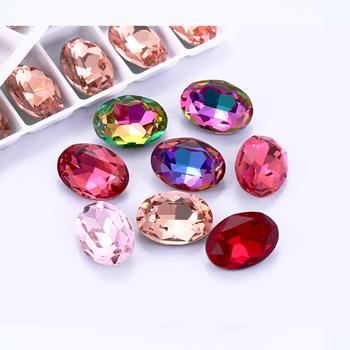 Astrobox owalne dekoracje cyrkonią kryształowe błyszczące Rhinestone DIY akcesoria do paznokci akcesoria akcesoria kryształ górski tanie i dobre opinie CN (pochodzenie) Motyw dżetów Cyrkonie Klej Na YATY Szkło Pointback Buty Odzieży Torby K9 Glass Crystal Oval 6x8mm 8x10mm 10x14mm 13x18mm