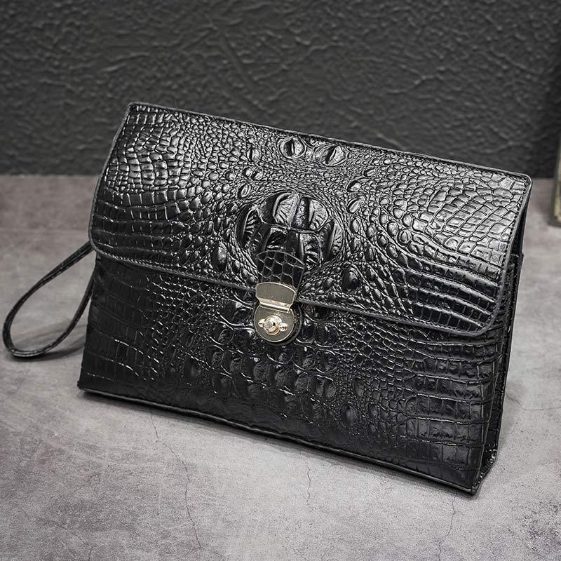 Men Crocodile Pattern Business Handbag Large Capacity Genuine Leather Envelope Bag Clip High-End Clutch First Layer Of Leather