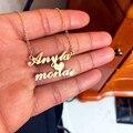 Имя пары на заказ ожерелье для любит Нержавеющая Сталь персонализированные Два имя сердце кулон-табличка с именем ожерелье свадебные подар...