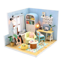 купить DIY Doll House Miniature Doll Houses with Furniture kit and LED light 3D Wooden Toys Christmas Gift for Children Dollhouse дешево